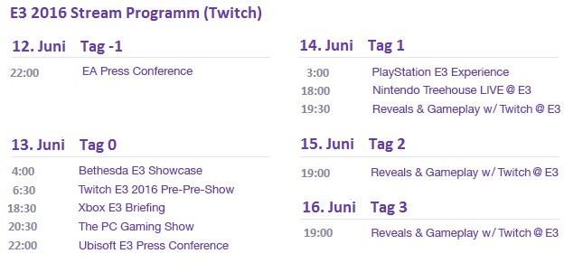 E3 Programm Twitch Deutsch